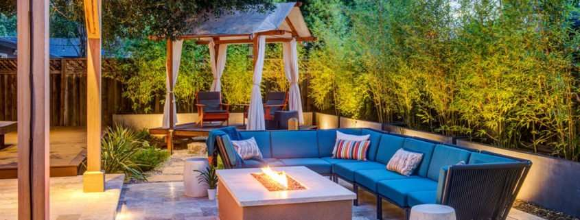 backyard remodel with fire pit