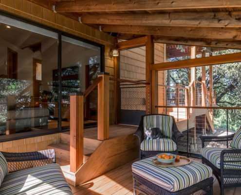 wooden seating area on outdoor deck