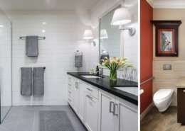 Two images of Universal Design bathrooms side-by-side. One is modern and grey, while the other is traditional and colorful.