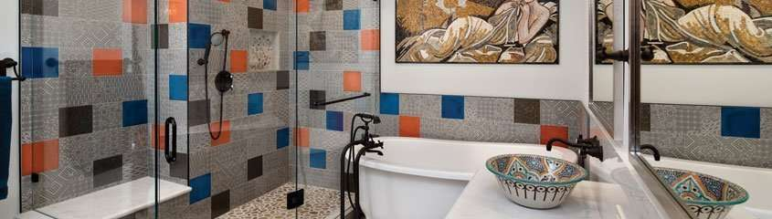 A Design + Build bathroom project showcasing a variety of tiles.