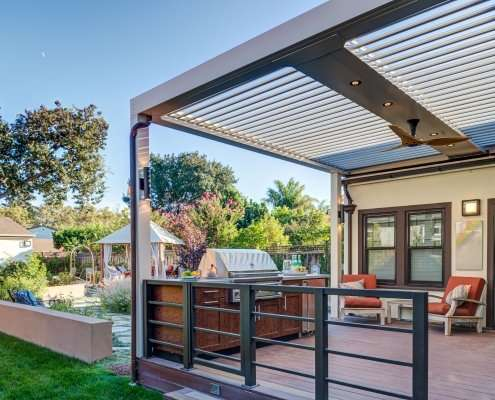awning with outdoor kitchen grill