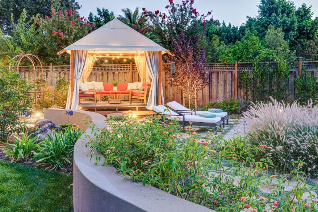 plantlife surrounding gazebo in outdoor seating