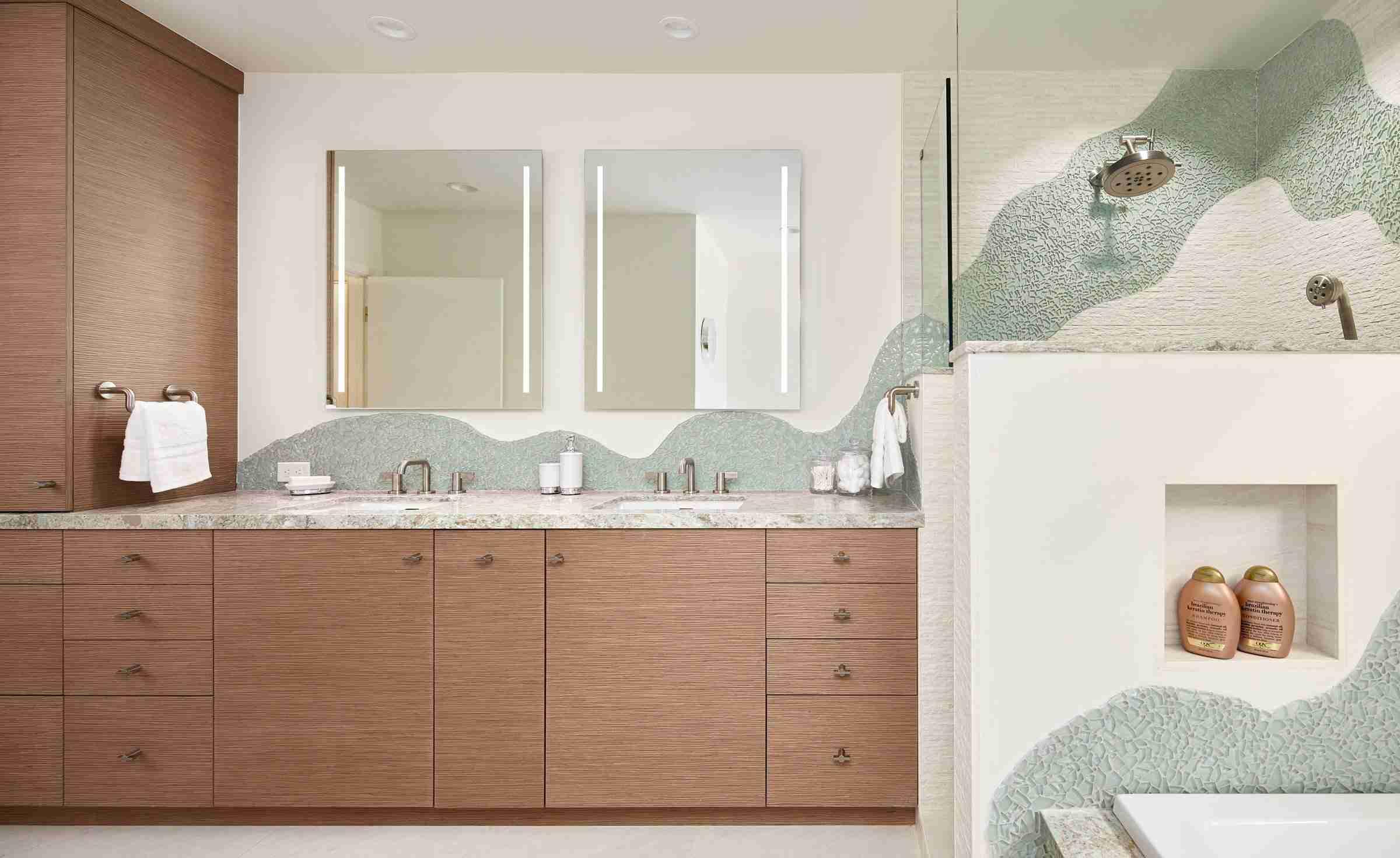 Bathroom with green wave backsplash