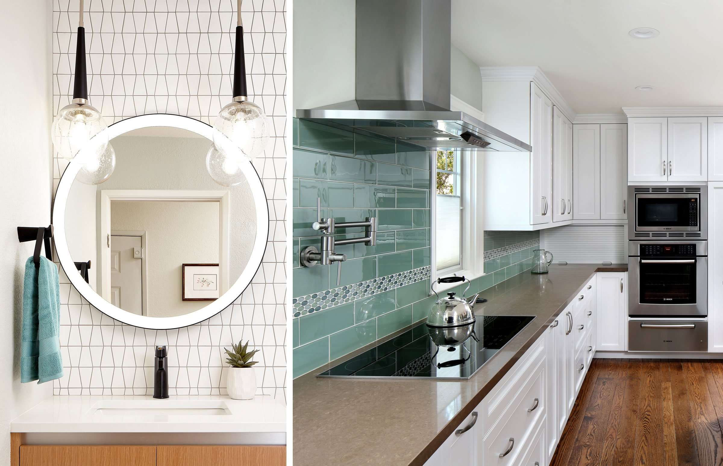 Collage of white bathroom sink and kitchen with blue backsplash